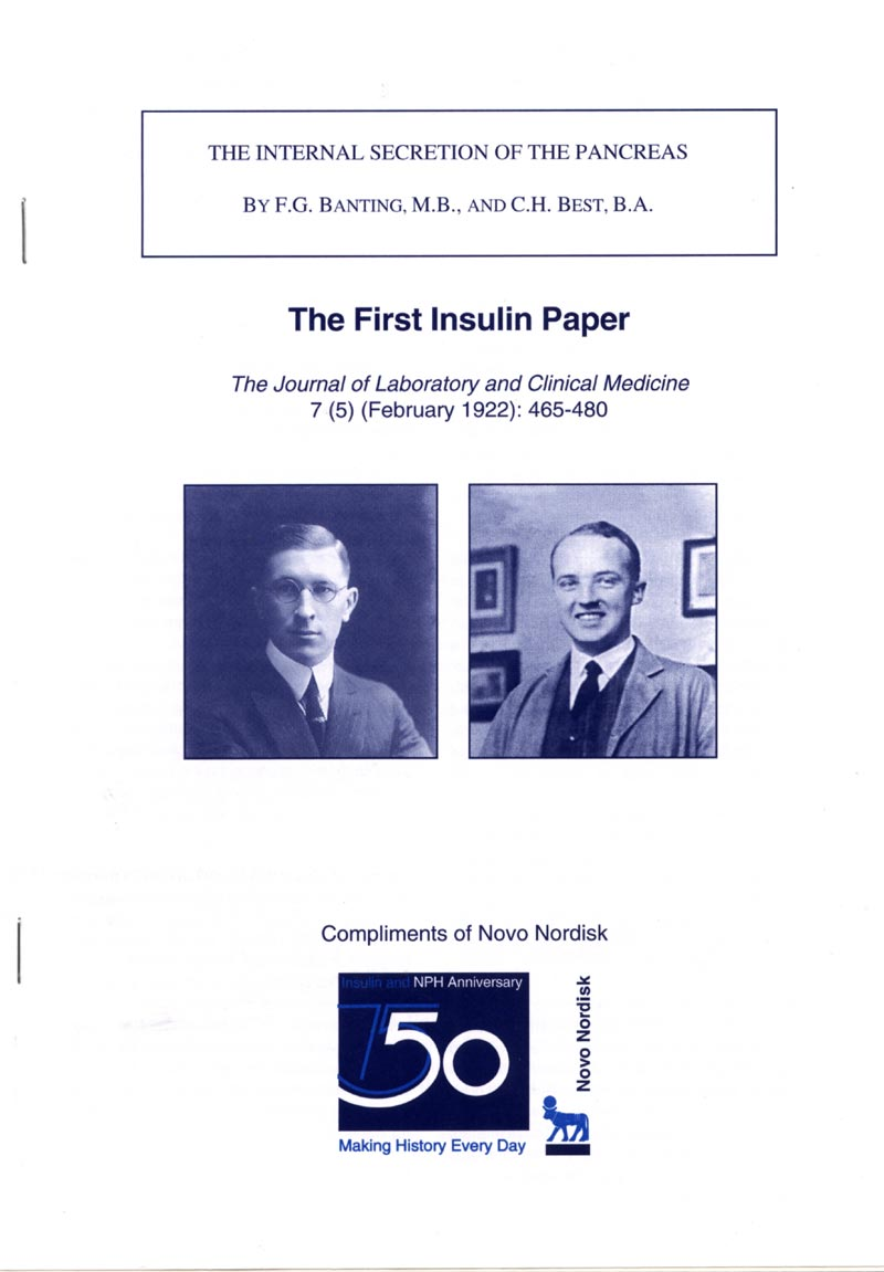 the first banting best insulin paper reprint covers